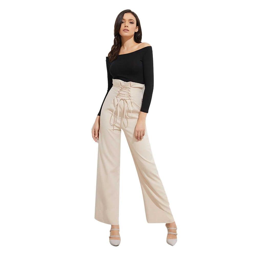 Nieuwe Vrouwen Broek Hoge Taille Wijde Pijpen Broek vrouwen Elegante Kant Broek Streetwear Plus Size Vrouwen Wijde Pijpen Broek nieuwe Hot Koop