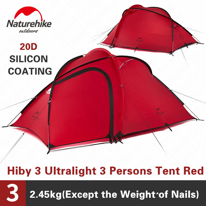 Naturehike Camping Tent Hiby 3-<font><b>4</b></font> Person Large Capacity Rainproof 20D/40D/210T Double Layers Tourist Tent <font><b>4</b></font> Seasons With Free Mat image