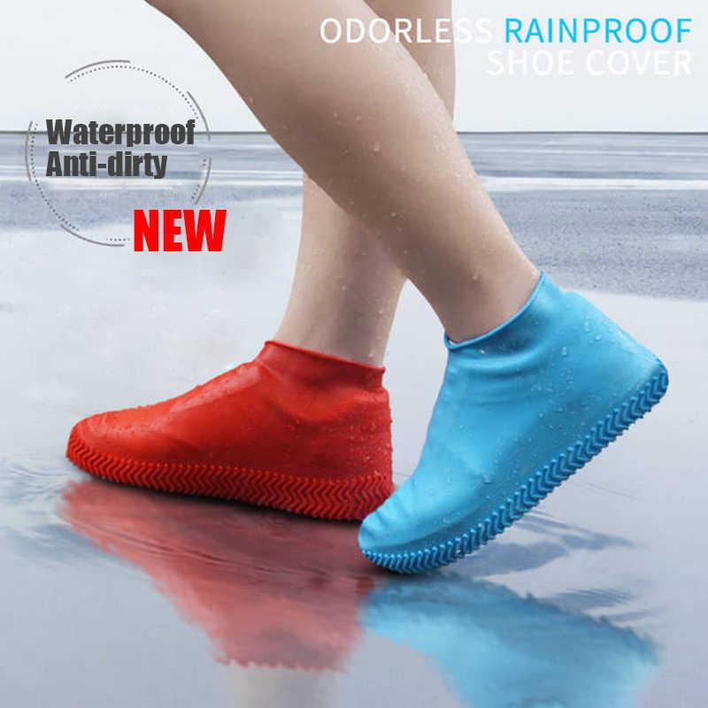 2020 新シリコーン防水靴カバーユニセックス靴プロテクターレインブーツ屋内屋外雨日ノンスリップ洗えるs/m/l