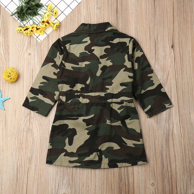 Maximum supplier US Toddlers Girls Long Sleeve Lapel Trench Casual Camouflage Jacket Coat Outwear