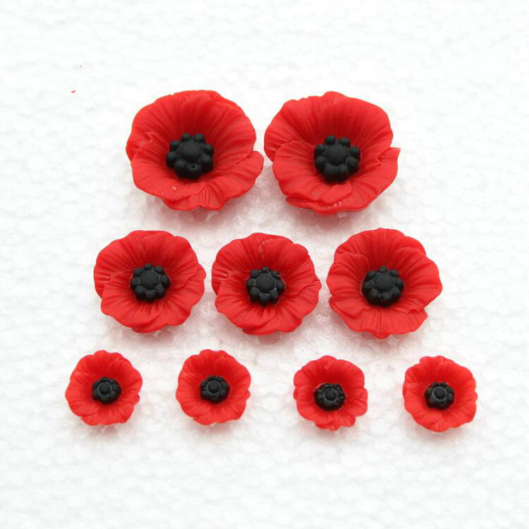 45pcs Chic Resin Red Poppy Flower Artificial Flower Flatback Embellishment Cabochons Cap For Home Decor 12mm