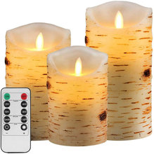 Zestaw 3 kory brzozowa efekt bezpłomieniowe świece na baterie filar prawdziwy wosk migotanie elektryczna świeca LED zestaw zdalnego sterowania tanie tanio Ritesdepot CN (pochodzenie) Amber