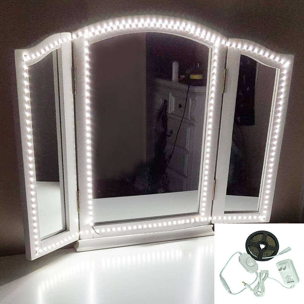1 Set 300 LEDs Makeup Mirror Vanity Mirror Light with Dimmer Power Supply For Dressing Table With Manual Makeup Mirror Lights