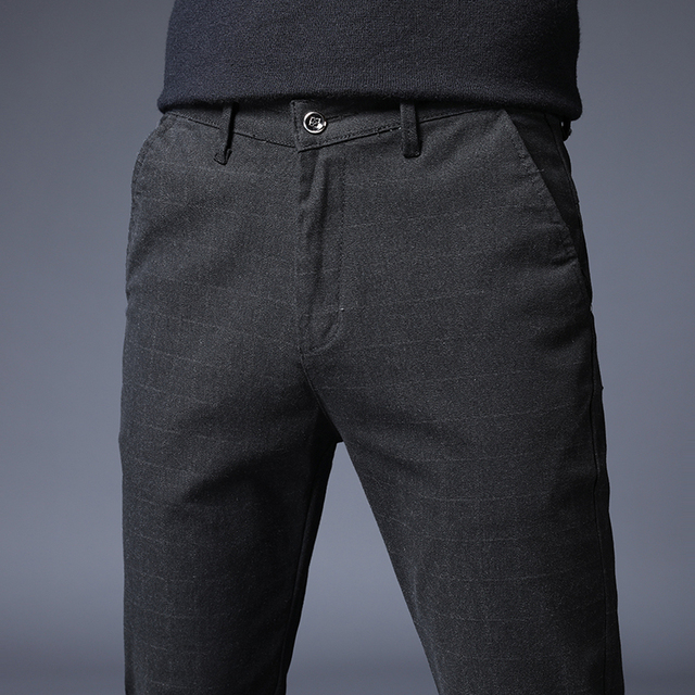 Stretch Plaid Casual Pants Men Spring summer High Quality Business thin Plaid Brand Men's Straight Gray Trousers Pant 34