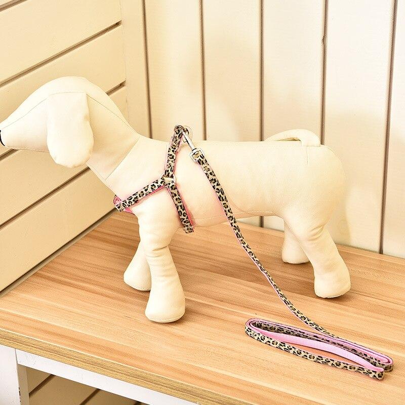 Elite Dog Pet Supplies Teddy Bichon VIP Leopord Pattern Nylon Tow Rope + Gou Bei Dai Set