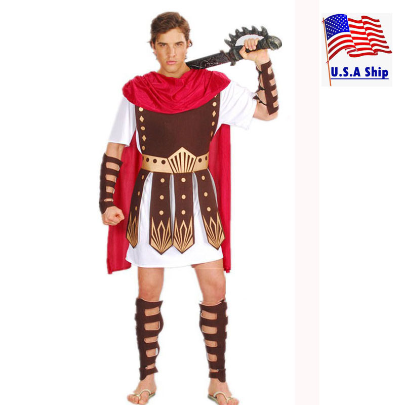 Adult Men Greek Roman Warrior Gladiator Costume Knight Julius Caesar Costumes Halloween Party Carnival Mardi Gras Fancy Dress