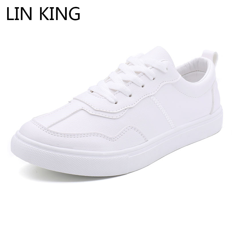 LIN KING Low Top Pu Leather Men Sneakers Fashoin Lace Up Footwear Man Casual Shoes Solid Student Tenis Trainers Shoes For Male