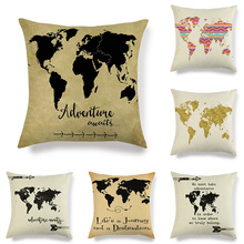 45x45cm World Map Printed Cushion Cover Decoration Dormitory Sofa Linen Retro Pink Square Home Pillowcase retro world map pattern flax square shape pillowcase without pillow inner