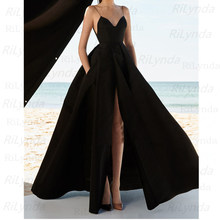 Royal Black Evening Dress 2020 Sexy Spaghetti Straps vestidos de fiesta V Neck Open Back robe de soiree Long Prom Gowns(China)