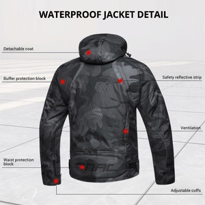 Image 4 - Men Motorcycle Jacket Waterproof Motocross Suit Windproof Moto Protection Wearable Chaqueta Moto With Removeable Linner