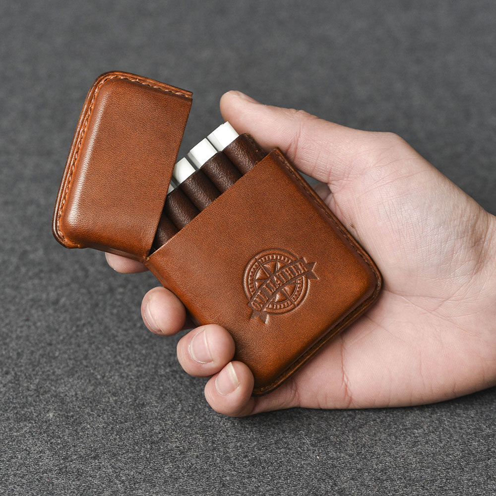 One Leather Cigarette Box Men Gift Cigarette <font><b>Case</b></font> Mens Gifts Cigarette Cover Smoke <font><b>Tobacco</b></font> Pouch Vegetable Tanned Leather image