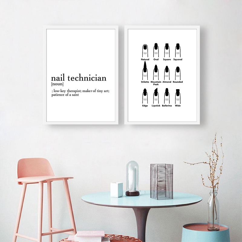 Nail Technician Definition Fashion Poster Prints Makeup Wall Decor Nail Salon Gifts Nail Type Guide Art Canvas Painting Picture