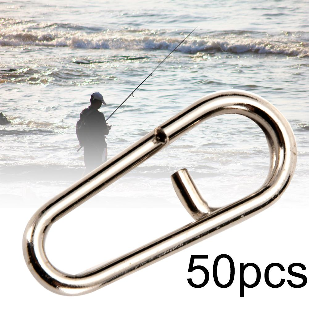 50Pcs Mini Stainless Steel Swivels Snap Oval Split Rings Fishing Tackle Tool Fast Link Clips Snap Cnnector Interlock