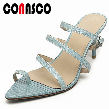 CONASCO Women Sandals Fashion Sexy Concise Casual High Heels Slippers New Genuine Leather Narrow Band Summer 2020 Shoes Woman