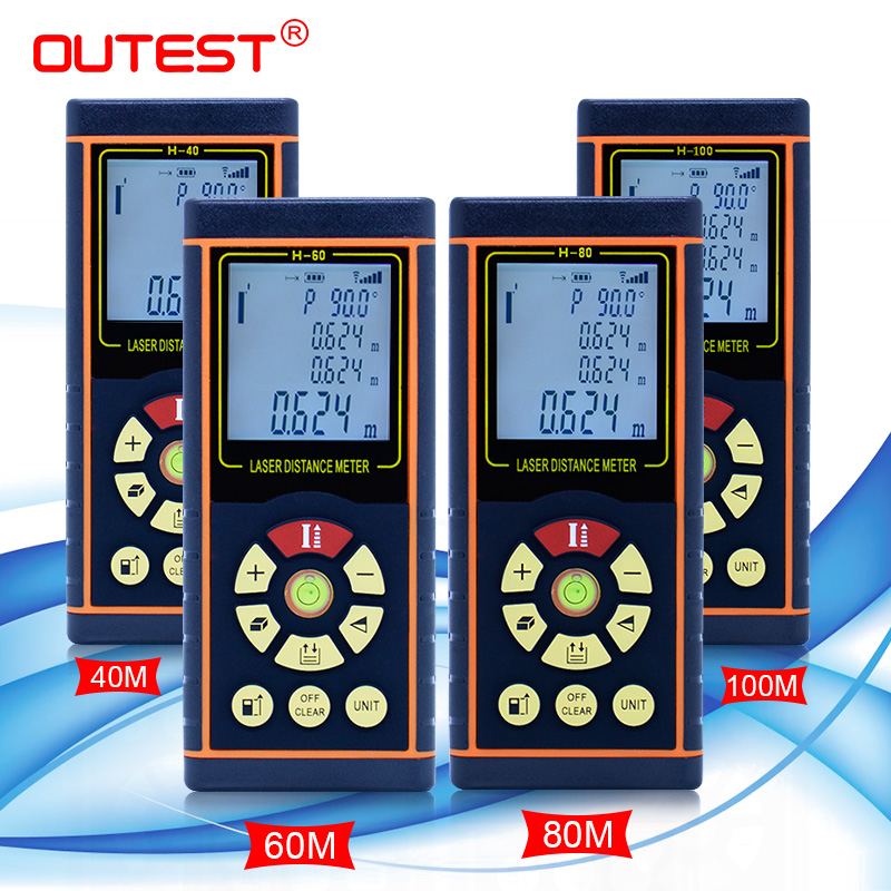 OUTEST Laser Distance Meter Angle 40M 60M 80M 100M Rangefinder Laser Tape Measure Laser Ruler Trena Tape With Electronic Level