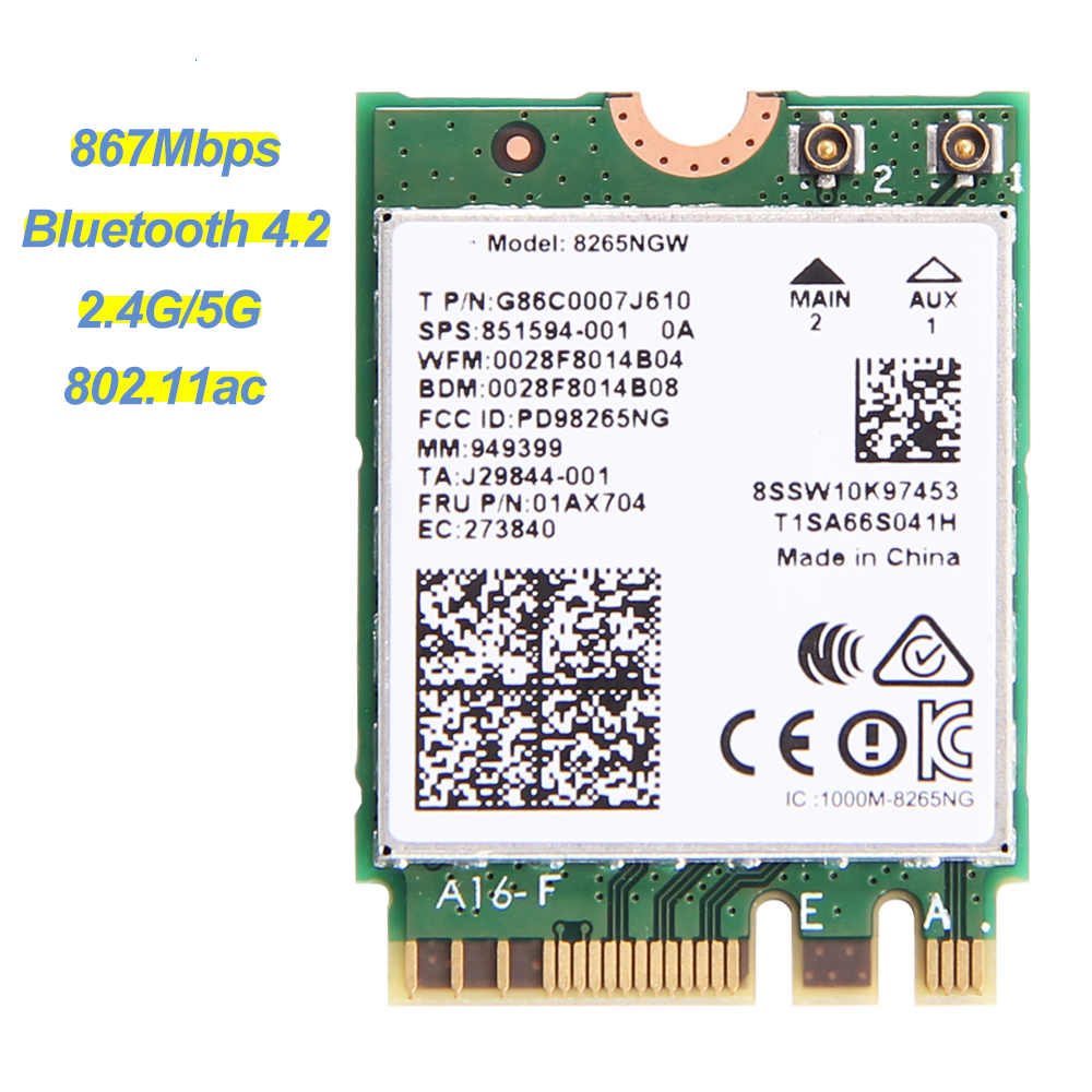 Wireless Dual Band 867Mbps For Intel AC 8265 NGFF Wifi Network Card 8265NGW 2.4G/5Ghz 802.11ac Bluetooth 4.2 8265AC For Laptop(China)
