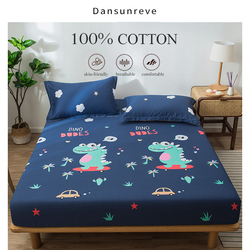 Dansunreve 100% Cotton Fitted Sheet Hot Sale Cartoon Deer Dinosaur Bedsheets King Queen Single Size No Pillowcase For Bedroom