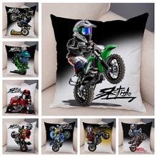 Cartoon Motorcycle Cushion Cover Decor Extreme Sports Pillowcase Soft Plush Mobile Bike Pillow Case for Sofa Home Children Room