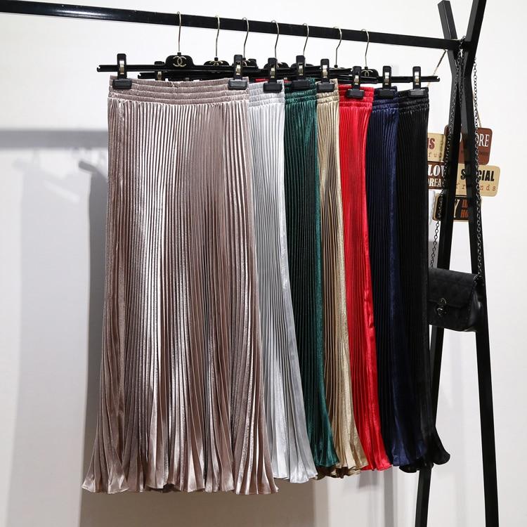 2020 Long Skirts Women Girls Skirt Satin Accordion Pleated New Metal Pleated Skirt Wild Color High Waist Big Swing