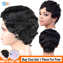Short Human Hair Wig Cheap Wigs For Black Women Peruvian Pixie Cut Wig Finger Wave Non Remy 130% Density BY(China)