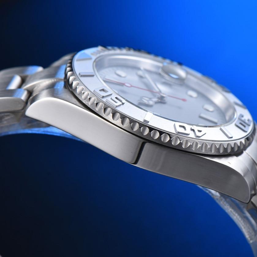 Anel cerâmico iate asséptico cinza superfície relógio