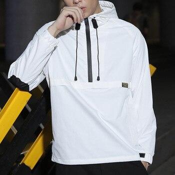 Hooded Jackets Men New Solid Color Pullover  bomber Jacket Fashion Tracksuit Coat Men windbreaker Hip Hop Streetwear Jackets