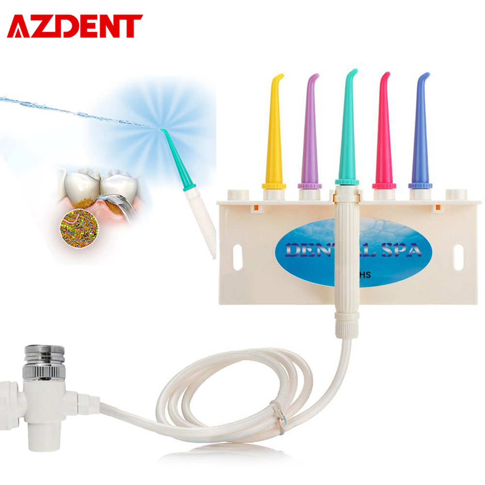 AZDENT Faucet Water Dental Flosser Oral Irrigator Jet Interdental Brush Teeth Whitening Tooth SPA Cleaner With 5 Tips Drop Ship