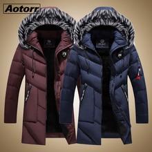 두꺼운 웜 파커 스 코트 겨울 자켓 남성 캐주얼 롱 아웃웨어 후드 모피 칼라 윈드 브레이커 자켓 가죽 코트 남성 Veste Homme