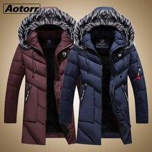 Abrigo parka grueso y cálido para hombre, chaqueta de invierno, ropa larga informal con capucha y Cuello de piel, chaquetas cortavientos de cuero