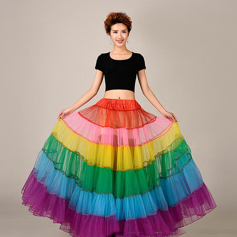Hot Rainbow Long Petticoat Colorful Underskirt Petticoats For Wedding Dress Crinoline Jupon Cerceau Mariage Wedding Accessories