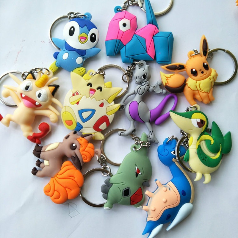Pokemon Key Chain PVC Key Ring Meowth Lapras Vulpix Togepi Piplup Mewtwo Pendant Jewelry Accessories Anime Keychain Chaveiros