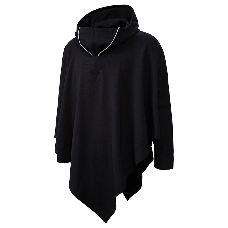 Unisex Casual Hooded Poncho Cape Cloak Fashion Coat Hoodie Sweatshirt Men Hip Hop Streetwear Hoody Pullover for Male Sweat Homme