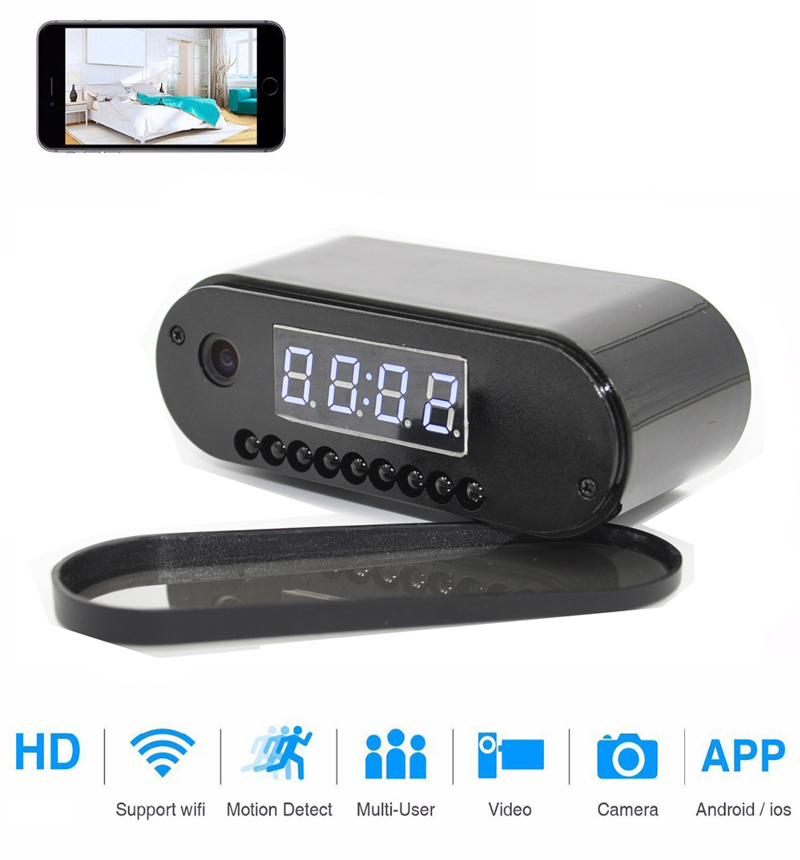 alarm clock HD Clock WiFi Camera Mini IP home security Camcorder P2P Night Vision Alarm Motion Remote CCTV Camera (2)