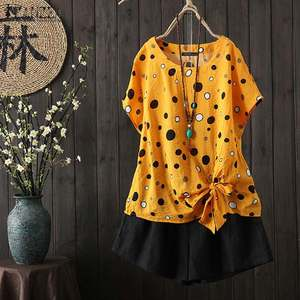 Women's Printed Blouse 2020 ZANZEA Kaftan Polka Top Chemise Short Sleeve Tee Shirts Female Lace Up Blusas Plus Size Summer Tunic