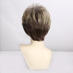 Image 2 - ALAN EATON Ombre Licht blonde Braun Schwarz Kurze Synthetische Haar Perücken für frauen Afro Haarschnitt Puffy Pixie Cut Perücken Wärme beständig