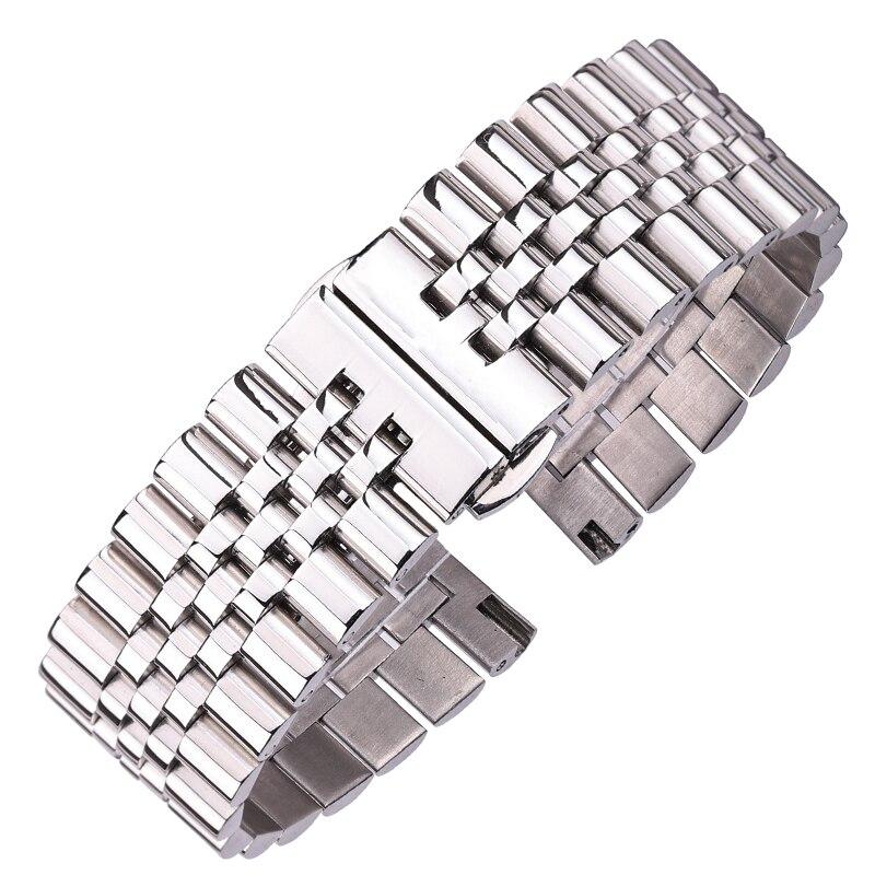 Pulseiras de aço inoxidável prata polido 16 18 19 20 21 22mm metal relógio pulseira acessórios