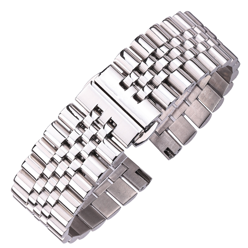 Stainless Steel Watchbands Silver Polished 16 18 19  20 21 22mm Metal Watch Bracelet Strap Accessories