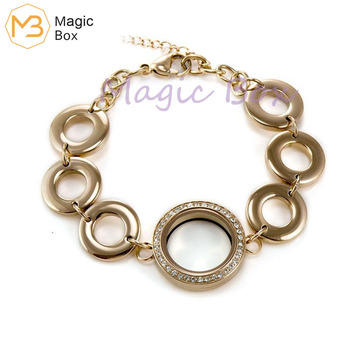 Waterpoof 25mm 316L Stainless Steel plain and crystal floating locket bracelet rose gold adjustable