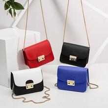 цена на 2020 Black and White Small PU leather Color Block handbag Women's Designer Chain Flap Crossbody Bag for Women Lock Shoulder Bags