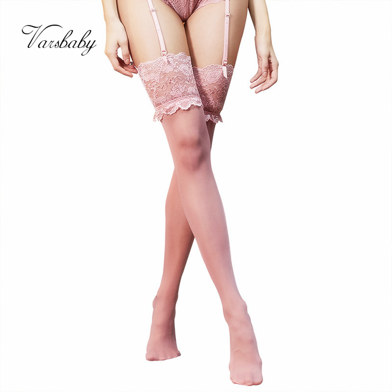 Varsbaby Women's Sexy High-elastic Underwear Floral Lace Free Size Pretty Legs High Quality Stocking