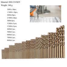 74pcs M35 1.0 8.0mm Cobalt Drill Bit Set High Speed Steel HSS CO Twist Drills Bit For Metal Wood Working Power Combination Tools