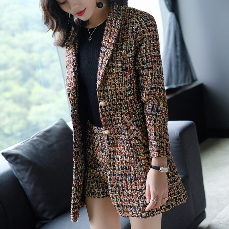 2020 New Elegant Women Tweed Jacket Suits Spliced Twill Long Plaid Blazer Coat Shorts Outfits OL Office Work Formal Suit Sets
