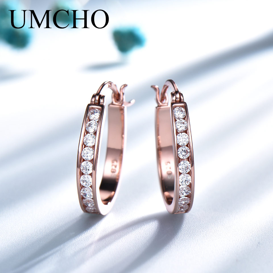 UMCHO  Silver 925 Clip Earrings For Women Morganite Gemstone Wedding Engagement Fine Jewelry Valentine's Gift