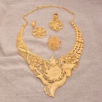 Luxury Phoenix jewelry sets for women Dubai wedding gold color necklace earrings ring bridal Indian Nigeria African gifts set