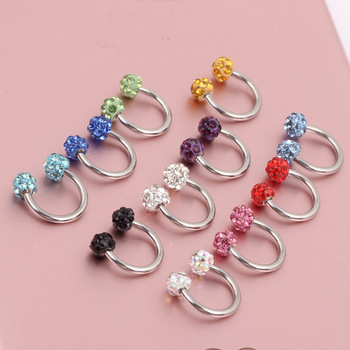 1PC U Shape Nose Ring Women Sexy CBR Rings Stainless Steel Crystal Ball Septums Piercing Jewelry Gift Ear Piercing image