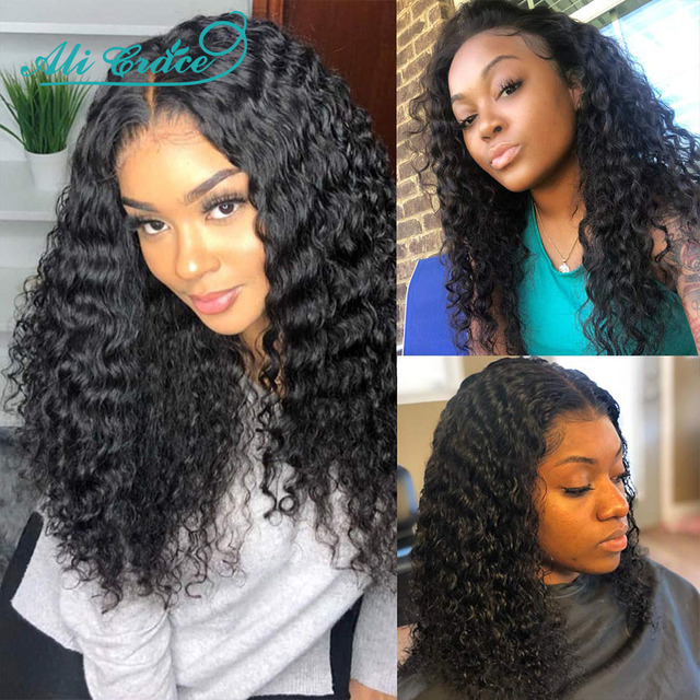 Ali Grace Curly Hair Wig 13×4 Lace Front Human Hair Wig 180% Density Medium 14 -20 inch Brazilian Kinky Curly Human Hair Wigs