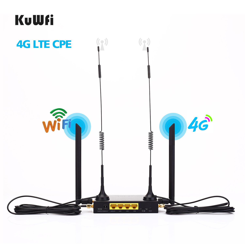 KuWFi routeur 300Mbps routeur industriel CAT4 4G CPE routeur Extender fort Wifi Signal port 32 utilisateurs Wifi avec fente pour carte Sim