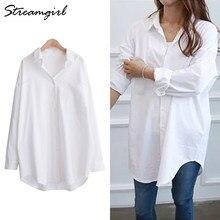 Chemise longue blanche pour femmes, surdimensionnée, manches longues, 5xl, Tops tuniques, grande taille, grande taille