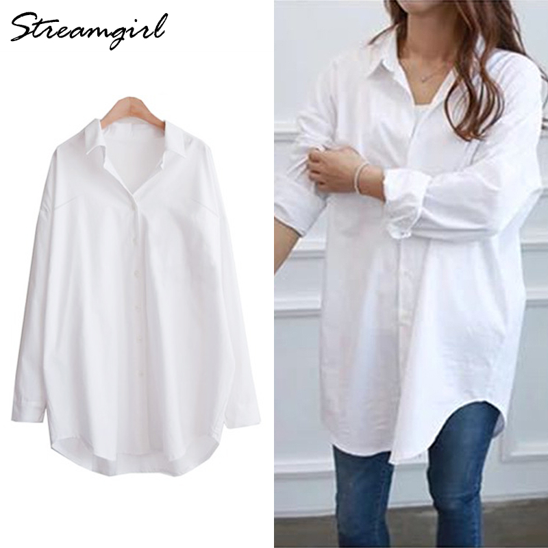 Long White Shirt Women Oversize Shirts Long Sleeve Womens Tunic Tops 5xl White Blouse Plus Size Woman Cotton Blouses Plus Size