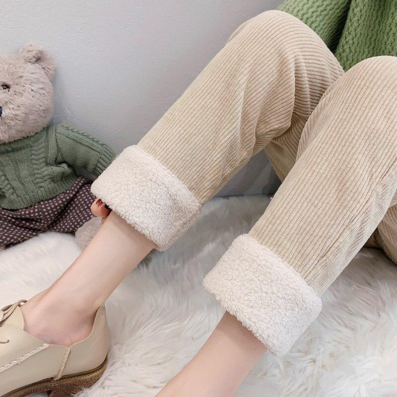 Korean Fashion Pants Women Corduroy Trousers Warm Thick Harem Pants Plus Velvet Autumn Woman High Waist Wool Trousers Plus Size